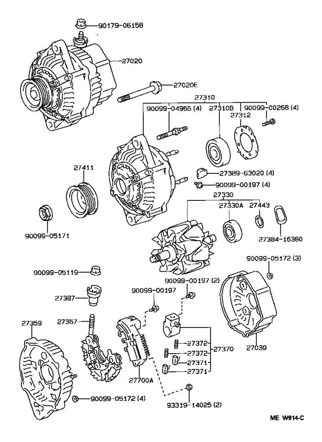 Toyota T100 Bearing(for alternator drive end frame). Delco