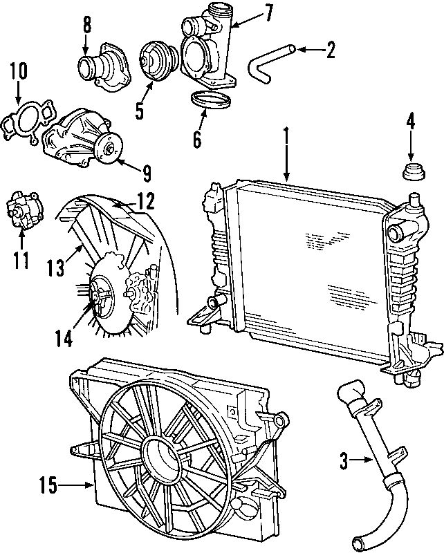 Lincoln LS Radiator Coolant Hose (Upper, Lower