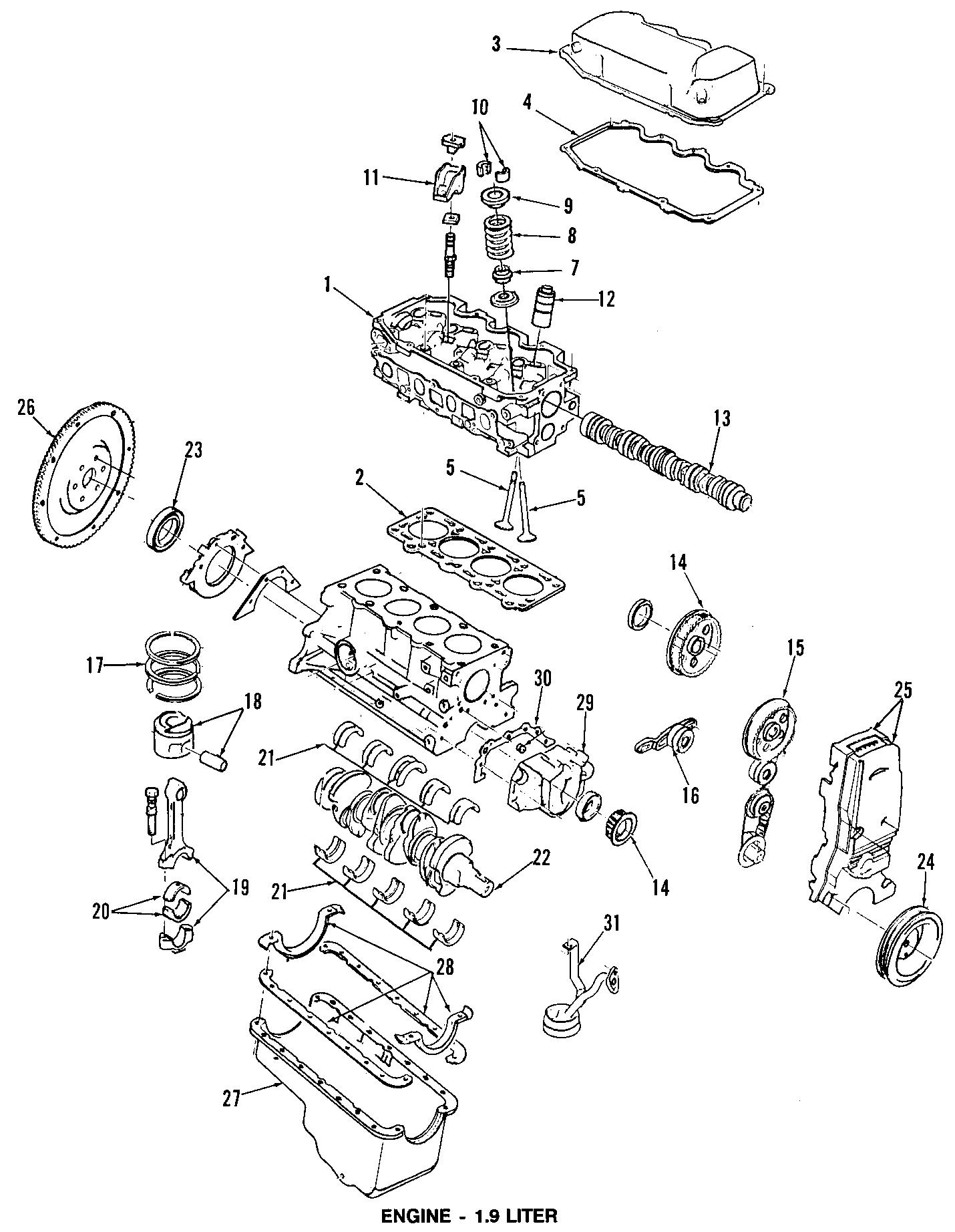 Mercury Tracer Engine Oil Pan Gasket. SOHC, LITER