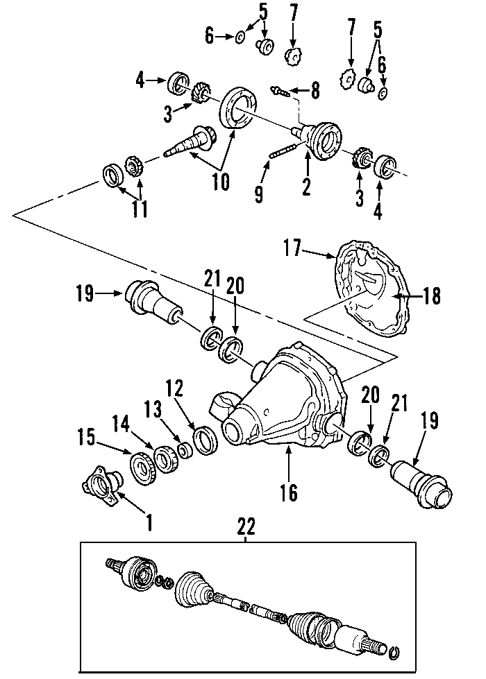 Ford Thunderbird Differential Pinion Bearing. Axle