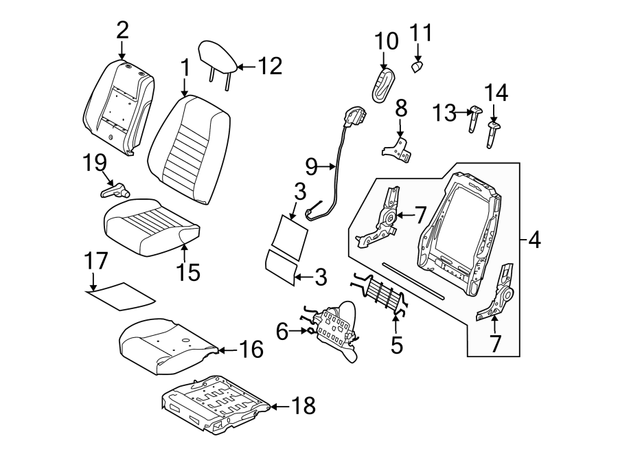 Ford Mustang Seat Back Recliner Adjustment Mechanism Cover