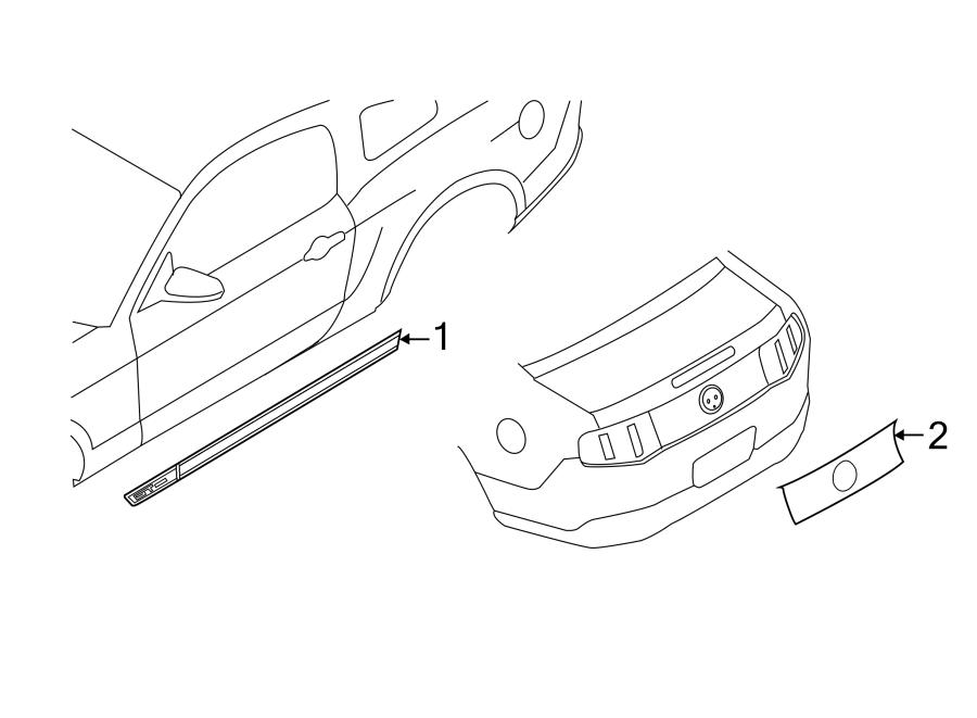 Ford Mustang Trim Stripe Tape. GT, 2011-12, door
