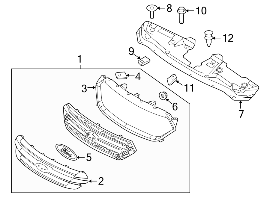 Ford Taurus Grille Molding. SE, SEL, LIMITED, 2013-19