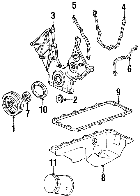 Lincoln Continental Engine Timing Cover Gasket. Left, DOHC