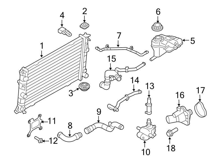 Lincoln MKZ Radiator Coolant Hose. Rear, Hybrid, COOLING