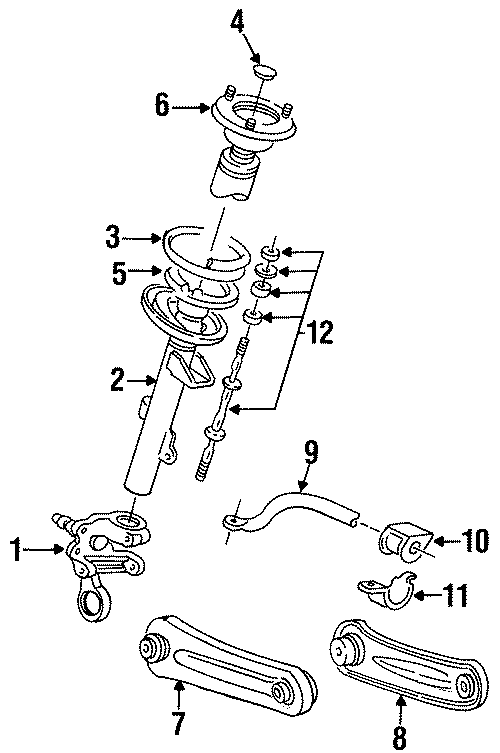 Mercury Sable Suspension Strut Mount. SEDAN, COMPONENTS