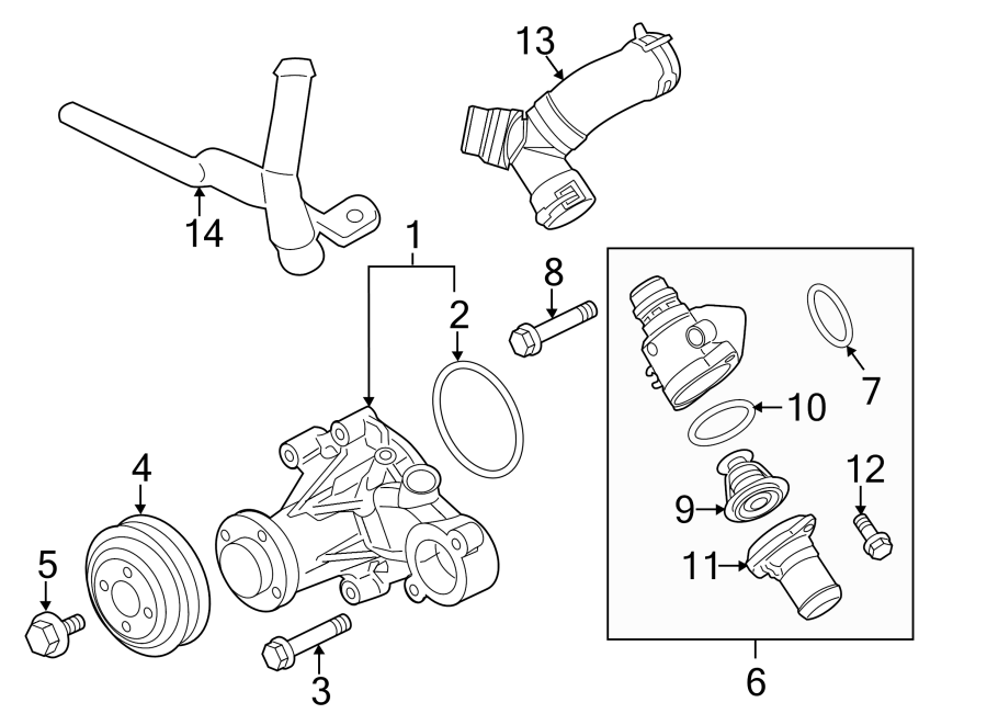 Ford F-150 Thermostat. Engine. CONNECTION. WATER. Housing
