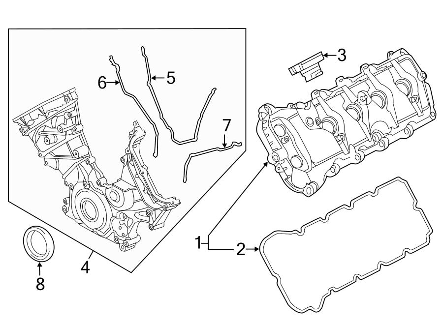 Ford F-150 Engine Valve Cover. 5.0 LITER. F150; Left. F150