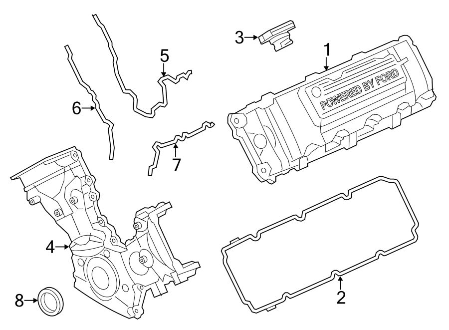 Ford F-150 Engine Timing Cover Gasket. Left, Outer, LITER