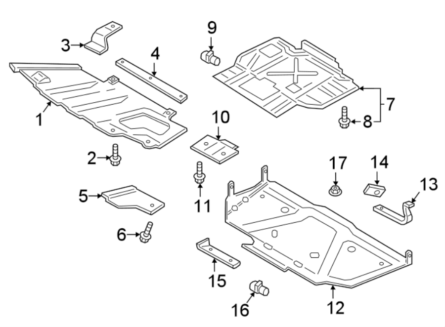 Ford F-150 Radiator Support Splash Shield Brace. SKID
