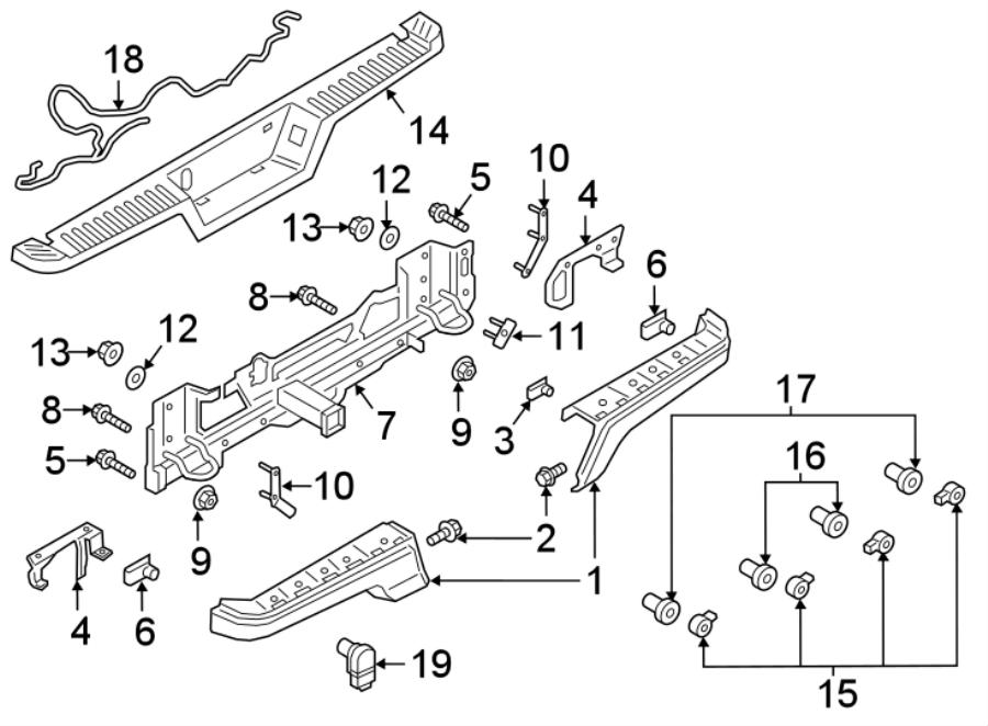 Ford F-150 Bumper Face Bar Reinforcement Beam. W/hitch