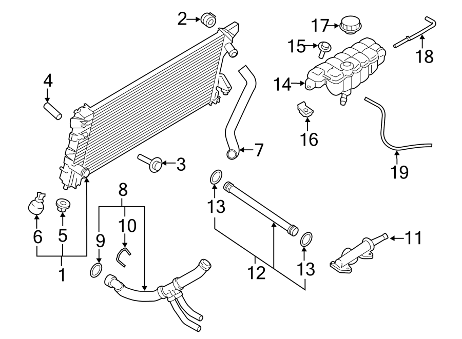 Ford F-150 Engine Coolant Pipe. 3.5 LITER TURBO, 2015-19