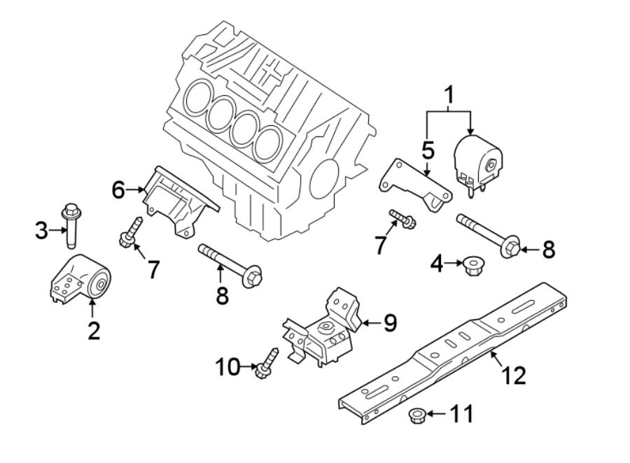 Ford F-150 Engine Mount Bracket. 5.0 LITER, 2015-2017. 5.0