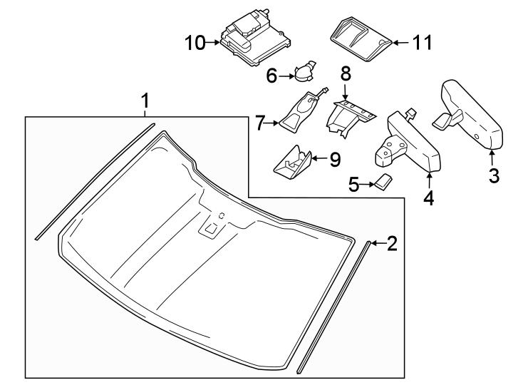 Ford F-150 Interior Rear View Mirror. W/rain sensor, w