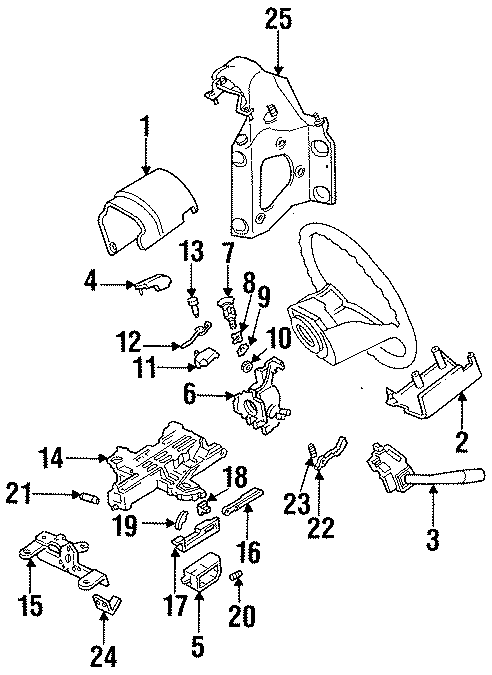 Ford F-250 Steering Column Wiring Guide. Villager. W/O