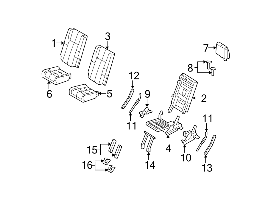 Ford Expedition Seat Frame (Right, Rear, Lower). 3RD ROW