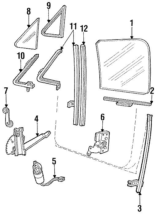 Ford Probe Power Window Motor. DOOR, GLASS, Left