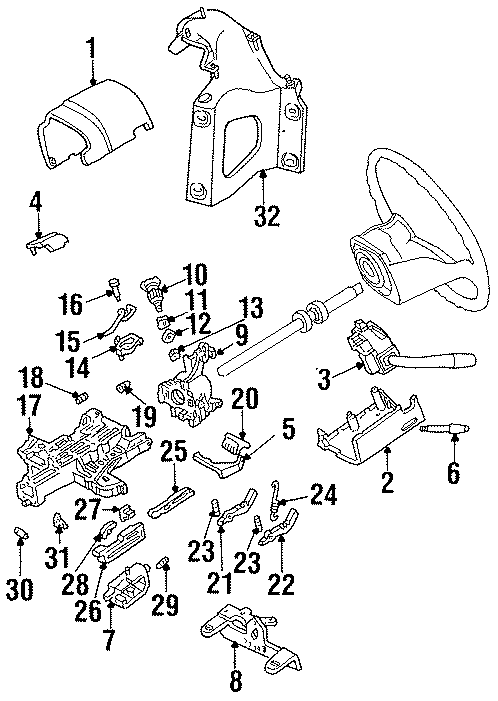 Ford Bronco Steering Column Wiring Guide. Villager. W/O
