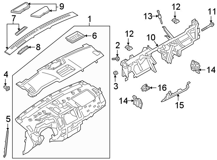 Ford Ranger Instrument Panel Crossmember Bracket. UPPER