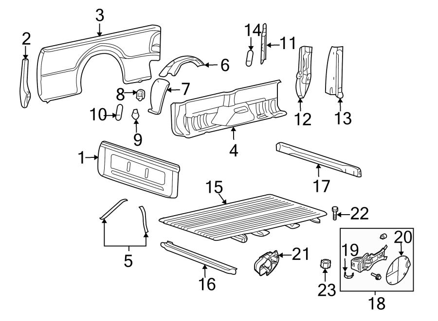 Ford F-250 Super Duty Truck Bed Floor. BOX, WHEELS, PICK