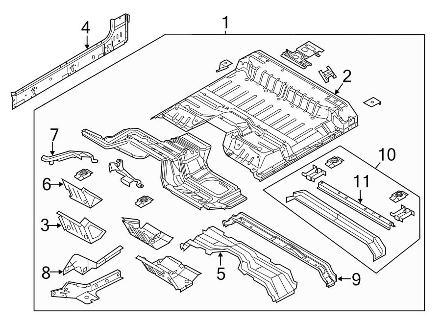Ford F-250 Super Duty Floor Pan Crossmember. CREW CAB