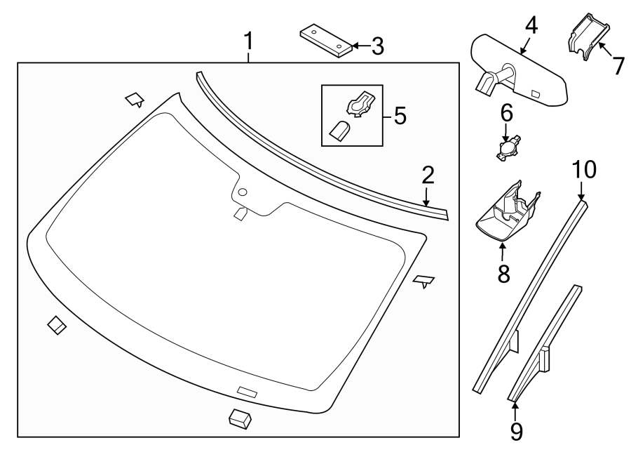 Ford Explorer Windshield Molding. Left, GLASS, Front