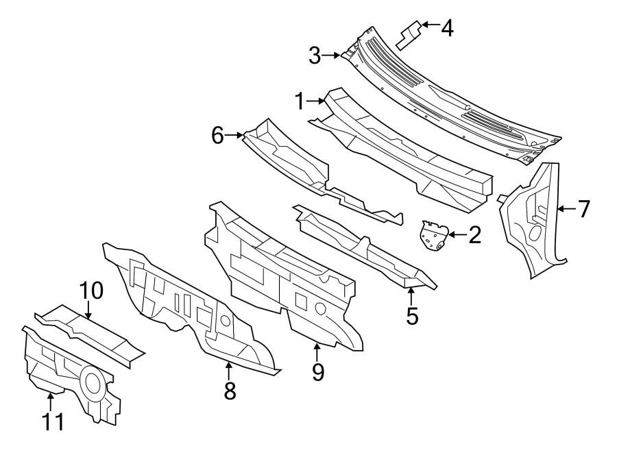 Ford Edge Insulator. Dash. Panel. Cowl. Engine compartment
