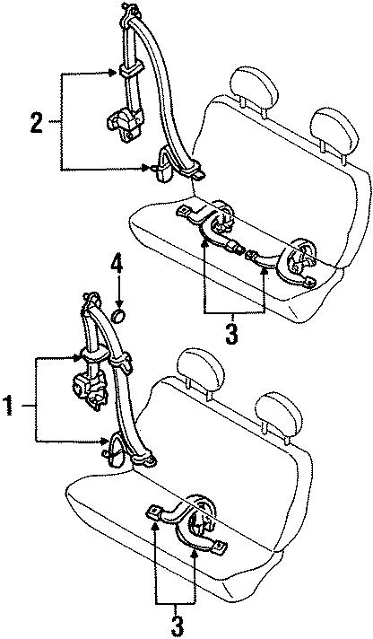 Mercury Villager Seat Belt Lap and Shoulder Belt. BENCH