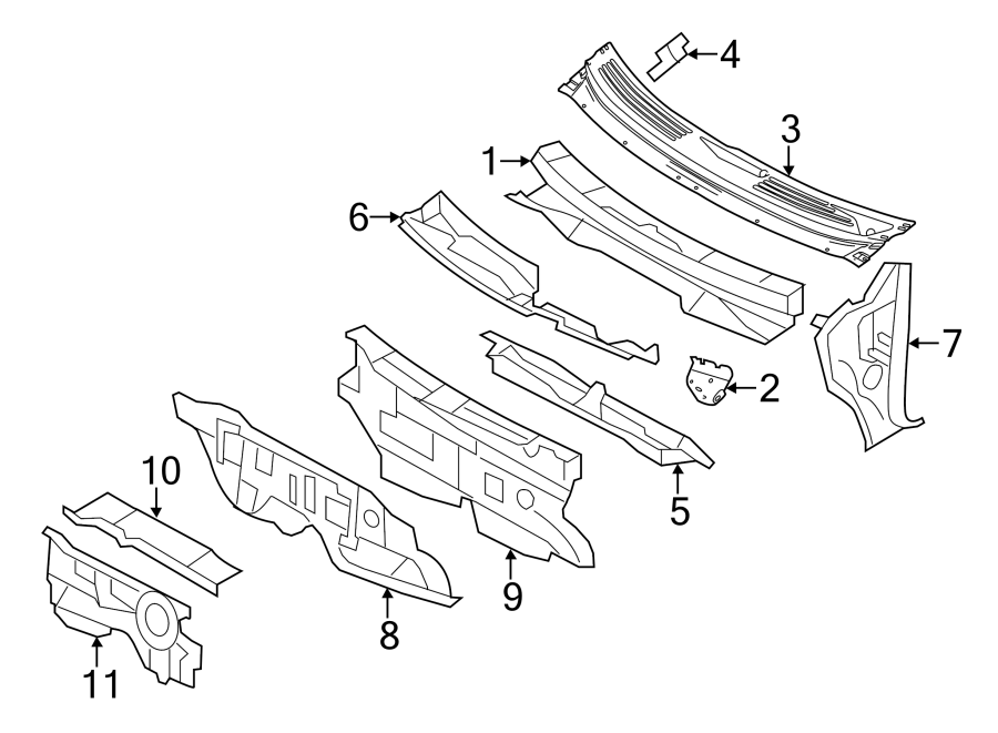 Lincoln MKX Insulator. DASH. PANEL. Cowl. Engine