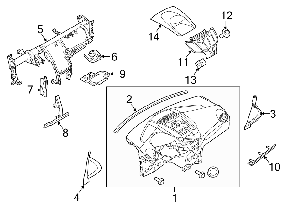 Ford Fiesta Instrument Panel Bezel. 2014-19, w/o SYNC