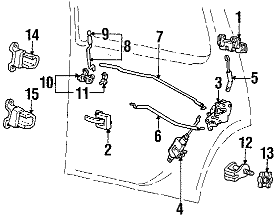 Mercury Mountaineer Door Latch Assembly. Left, Rear, LOCK