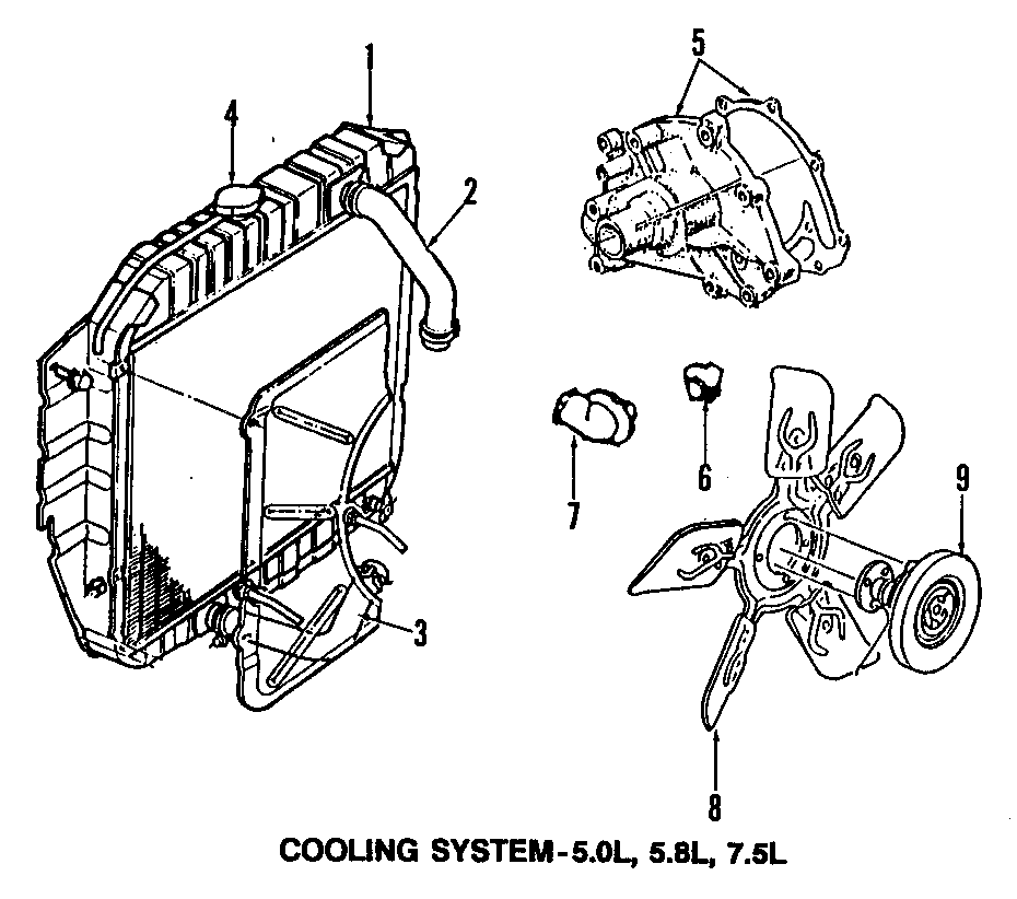 Ford Bronco Engine Cooling Fan Clutch. Liter, Pick