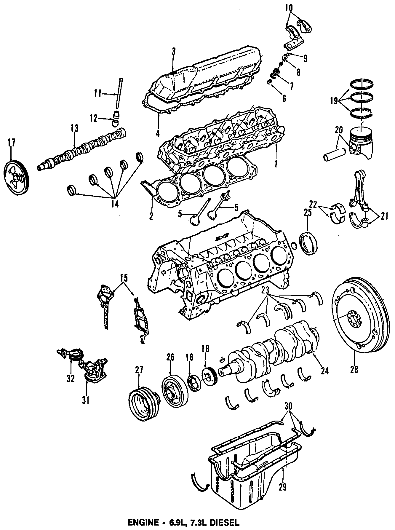Ford F-350 Engine Valve Cover Gasket. 7.3 LITER DIESEL
