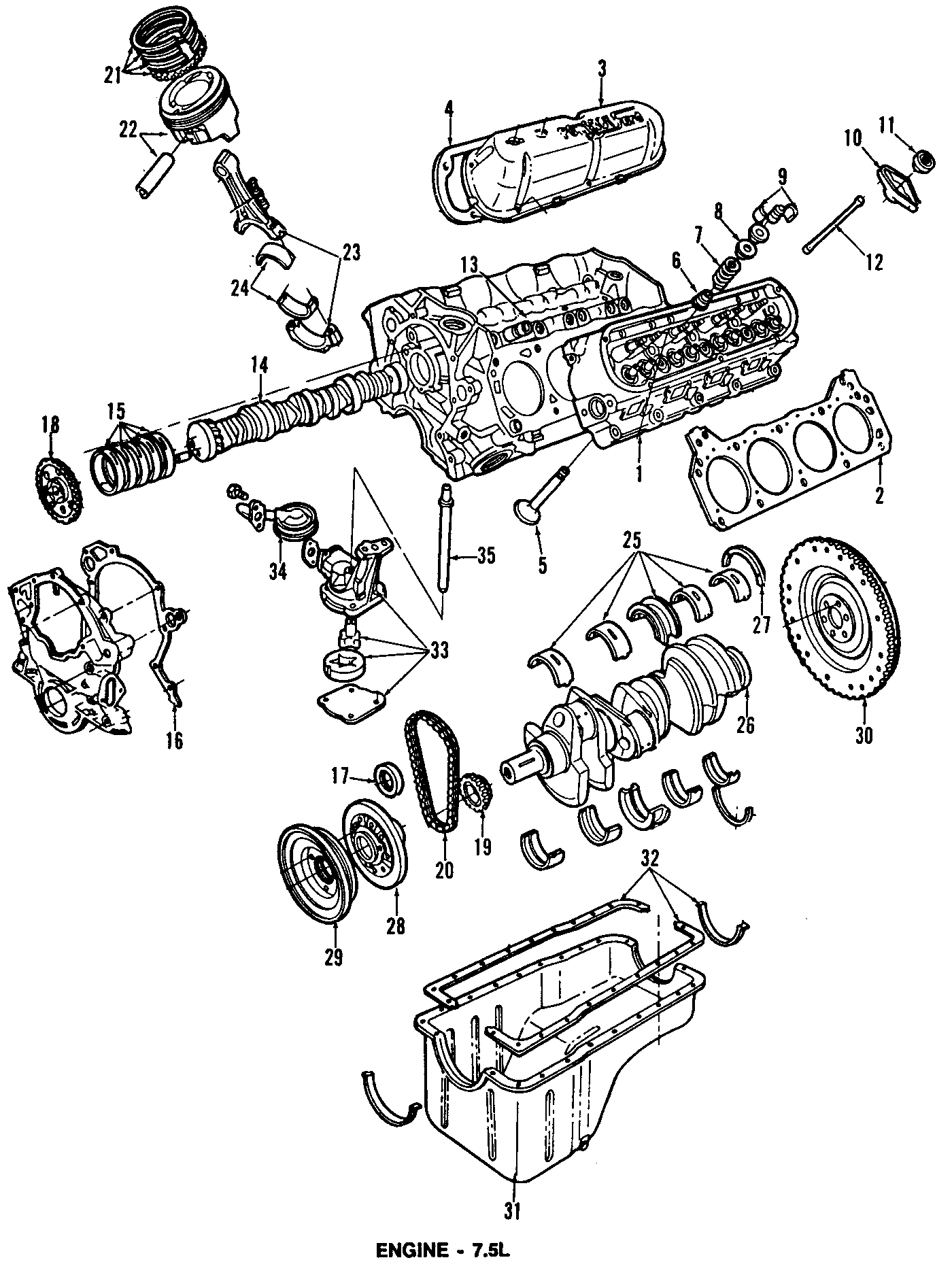 Ford E-350 Econoline Engine Crankshaft Seal (Rear). 7.5