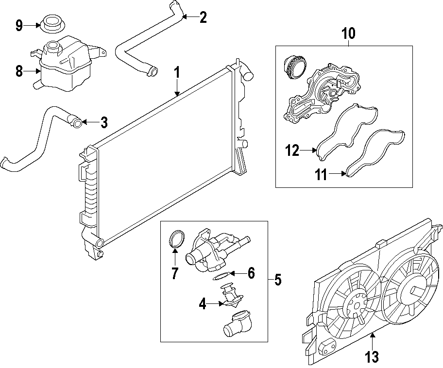 Lincoln MKX Radiator Coolant Hose (Upper, Lower
