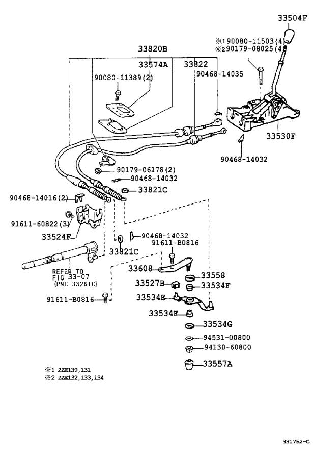1983 Toyota Corolla Automatic Transmission Shifter Cable