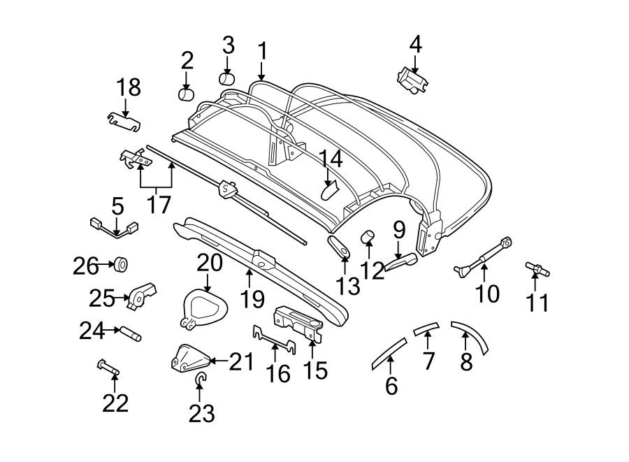 Volkswagen Beetle Gasket. Side seal. Center. Convertible