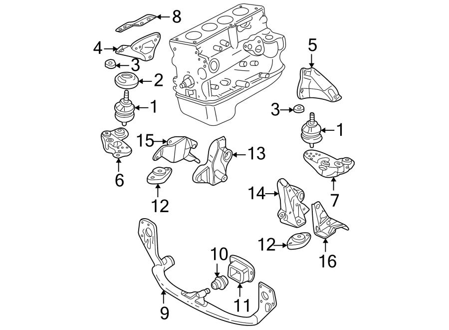 Volkswagen Passat Wagon Engine Mount Bracket. Upper, LITER