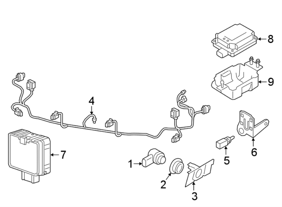 Volkswagen Atlas Parking Aid System Wiring Harness. W/R