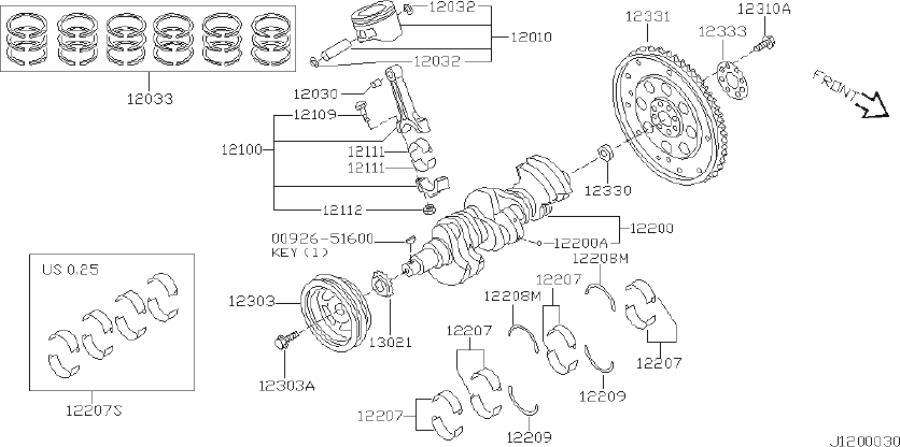 INFINITI I30 Sprocket Crankshaft. ILLUSTRATION, SELECT