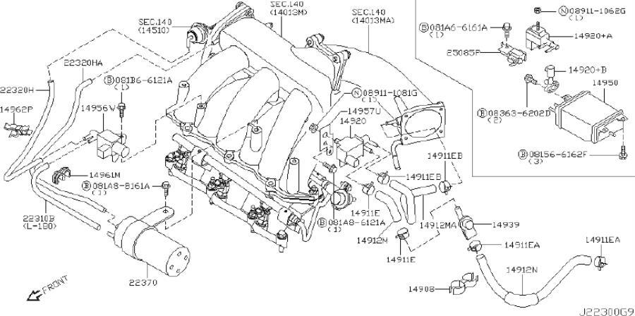 INFINITI I35 Hose Evaporator Contour. Hose Fuel