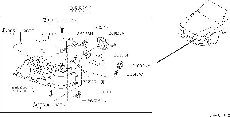 INFINITI Q45 Headlight (Right). LAMP, HALOGEN, XENON