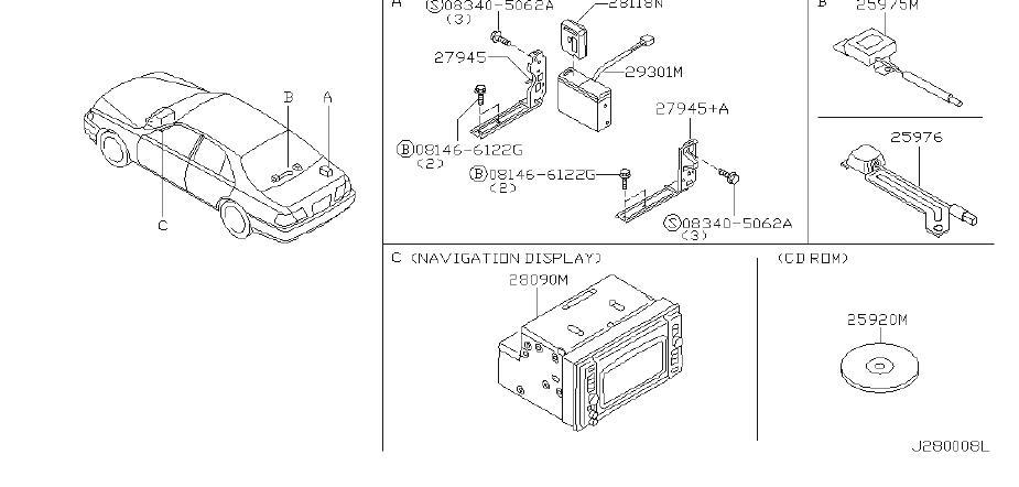 INFINITI Q45 Srs product. Clip wiring harness. Tem