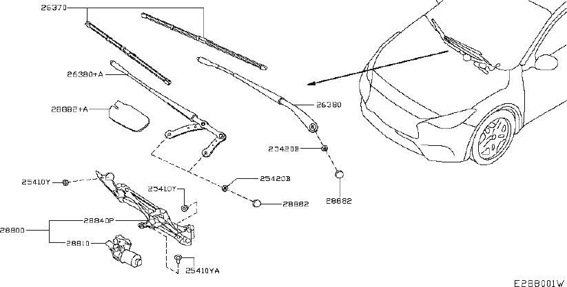 INFINITI QX30 Cover Wiper Arm. WINDSHIELD, System