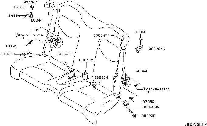 INFINITI G37 Seat Belt Lap And Shoulder Belt (Rear). CNV