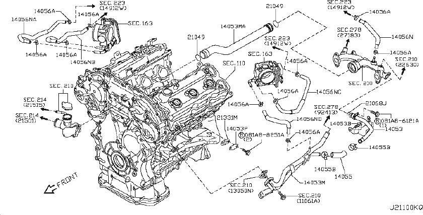 INFINITI EX35 Engine Coolant Hose. OIL, COOLER, AWD