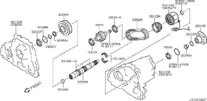INFINITI EX35 Transfer Case Output Shaft Bearing (Front