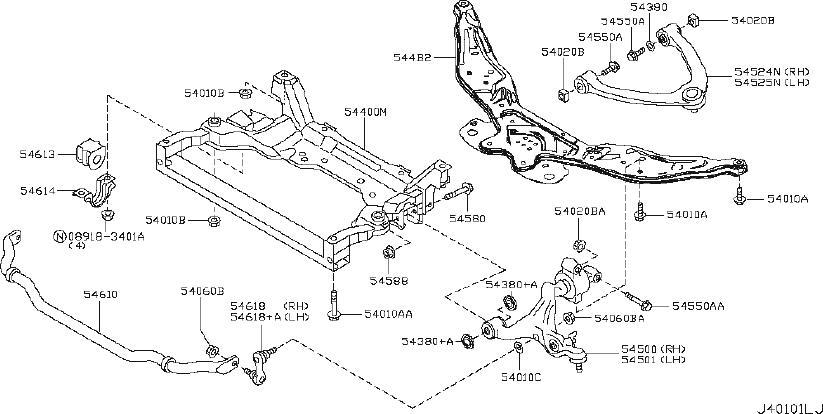 INFINITI EX35 Suspension Strut (Front). AWD, MEMBER