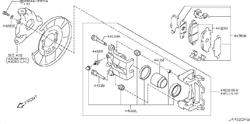 INFINITI EX35 Disc Brake Caliper Piston. PARKING, REAR