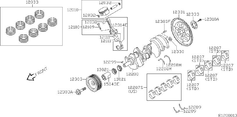 INFINITI QX56 Engine Timing Crankshaft Sprocket. BEARINGS
